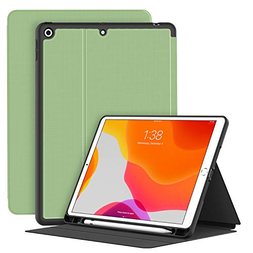 Soke Case for New iPad 7th/8th Gen 2019/2020, Premium TPU Folio Stand Protective Cover with Pen Holder, Auto Sleep/Wake for iPad 10.2 Inch tablet,Matcha Green