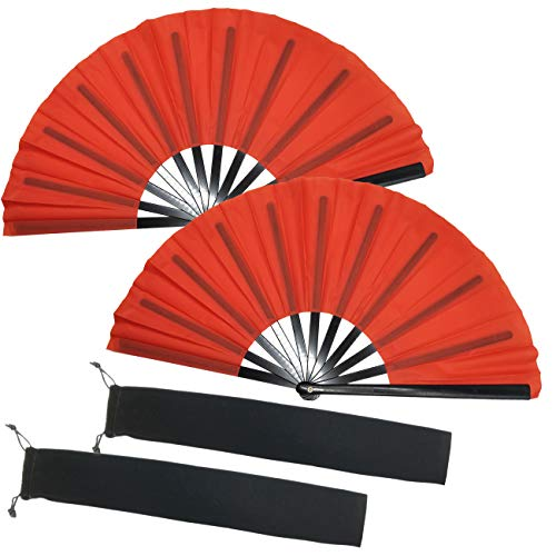 TIHOOD 2PCS Large Red Folding Silk Hand Fan Hand Folding Fans Chinese Tai Chi Folding Fan for Men and Women Performance, Dance, Decorations, Festival, Gift (Red x2)