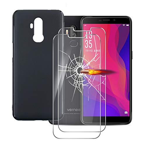 LYJERRY Handyhülle Vernee X2 Hülle Weich Schwarz + 2Pcs panzerglas für Vernee X2 Smartphone 6.0 Zoll Stoßfest Cover Schutzhülle Silikon Hülle Bildschirmschutzfolie