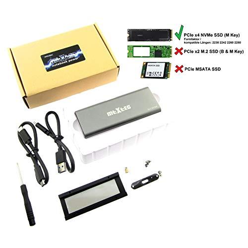 MTXtec USB 3.1 externes Aluminiumgehäuse 10 Gbps mit Kühleradapter für PCIe m.2 SSD mit NVMe Schnittstelle M2-Festplattenkonverter M Key Portable HDD-Gehäuse JMS583 Chip Hochleistungs-PCIe SSD-Adapter