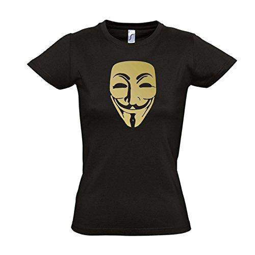 Damen T-Shirt - ANONYMOUS MASKE, Guy Fawkes, Acta, Vendetta KULT-Shirt , Deep black - gold , XXL