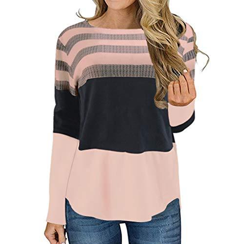 PKTOP suéter de Manga Larga para Mujer, Cuello Redondo, a Rayas, para Tejer, Informal, suéter Rosa Rosa L