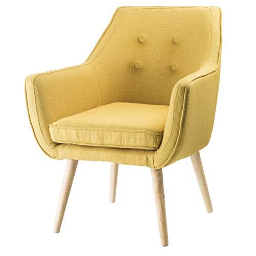 Sillón de dormitorio o salón de tela amarillo patas de madera natural 65 x 65 x 85 cm