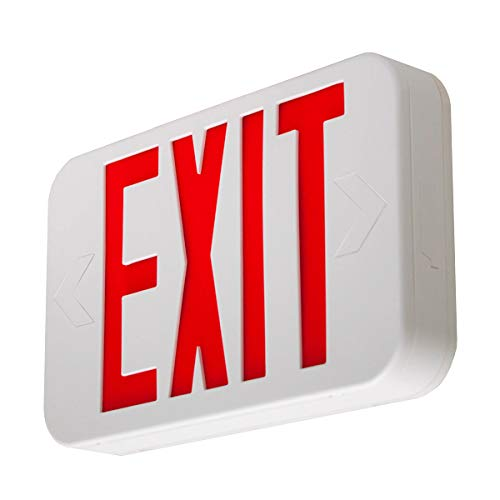 LFI Lights - UL Certified - Hardwired Red LED Exit Sign, Modern Design - Battery Backup - Emergency Fire Safety - LEDRBBJR