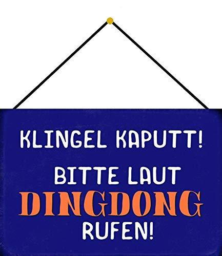 Metalen bord 20x30cm gebogen met koord bel kaputt Ding Dong Humor spreuk spreuk decoratie geschenk bord