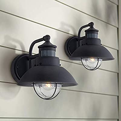 """Oberlin Mission Farmhouse Outdoor Barn Light Fixtures Set of 2 Black 9"""" Clear Seedy Glass Dusk to Dawn Motion Sensor for Exterior House Porch Patio - John Timberland"""