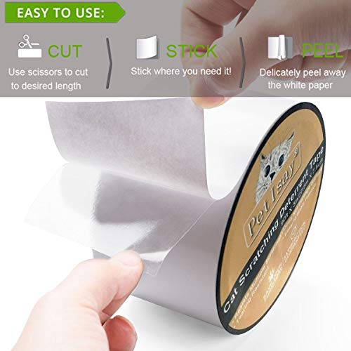 PetIsay Anti-Scratch Cat Scratching Deterrent Tape(4 inches x 16 yards), Scratch Control Aid | Double Sided Cat Training Sticky Strips | Stop Cat Scratching Furniture Protector, Clear(Single Roll)