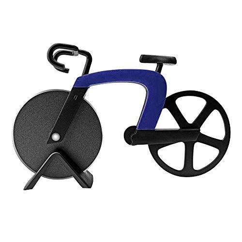 Fahrrad Pizzaschneider, Edelstahl-Schneidrad Humorvolle Pizzaschneider-Scheiben für cooles Küchengerät (blau)