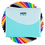 HTV Heat Transfer Vinyl: 20 Pack 12' x 10' Iron-on Sheets – 2 black, 2 white and 16 individual...