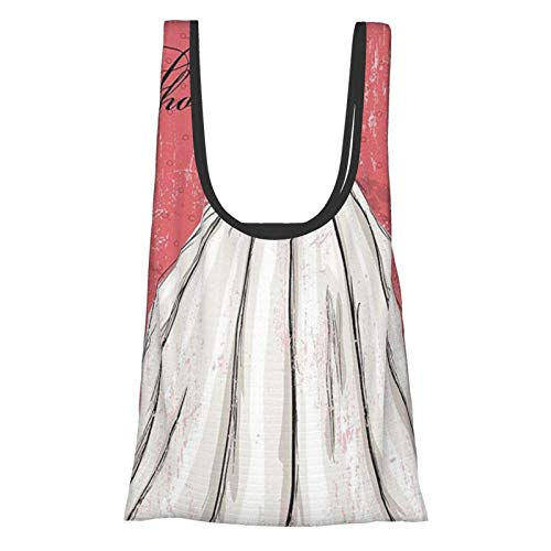 Hdaw Decoración para la ducha de novia, diseño de grunge rosa, ideal para boda, vestido de novia, imagen de fiesta, color coral, negro y blanco, reutilizable, plegable, bolsas de compras ecológicas
