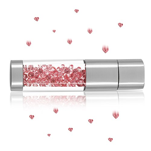 USB Flash Drive 64GB, Techkey Crystal Jewelry Pen Drive with Silver Polishing Cloth and Velvet Bag Set for Girls ( Pink )