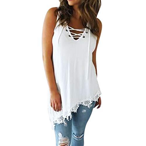 FRAUIT dames sexy mouwloos kanten blouse V-hals bandage tank top zoom tuniek bovenstuk los vest zwart wit grote maat mode 2019