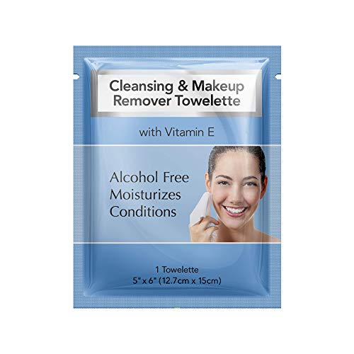 Diamond Wipes Cleansing and Waterproof makeup remover towelette individual packets, alcohol free with vitamin E, hotel's choice (50 Count Box)