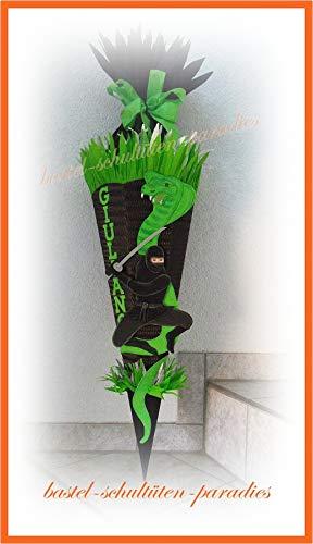 Schultüten Bastelset Ninja mit Schlange schwarz-grün