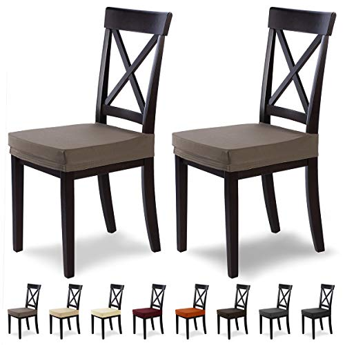 SCHEFFLER-Home Stretch Stuhlbezug Marie, 2er Set elastische Stuhlauflagen mit Fleckschutz, wasserabweisender Sitzbezug Esszimmerstuhl, Elegante Auflage für Stühle, Stuhlhussen Stretch