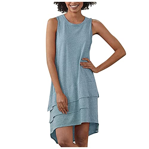 Liably Vestido de mujer de un solo color, cuello redondo, irregular, sin costuras, elegante, suelto, ligero, moderno, para la playa, fiestas azul XL