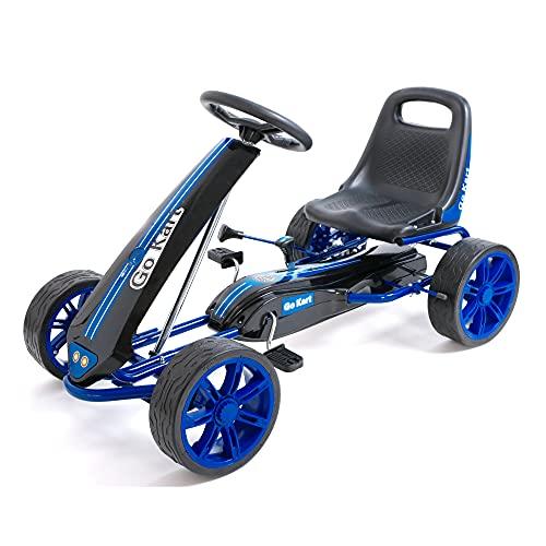 wuuhoo® I Go Kart Niki mit verstellbarem Schalensitz, Handbremse und Freilauf I Gokart mit weichen PU Reifen mit viel Dämpfung für Sicherheit und Stabilität I Tretauto für Kinder von 5-9 Jahren