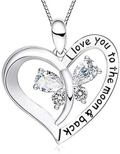 Aluyouqi Co.,ltd Collar Amazon Te Amo A La Luna Y Espalda Mariposa Diamante Corazón Colgante Collar Mujer