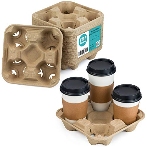 [45 Pack] Pulp Fiber Drink Carrier Tray Biodegradable 4 Cup Container Compostable Stackable...