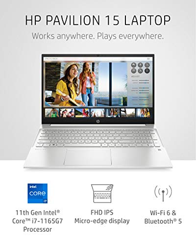 Product Image 2: HP Pavilion 15 Laptop, 11th Gen Intel Core i7-1165G7 Processor, 16 GB RAM, 512 GB SSD Storage, Full HD IPS Micro-Edge Display, Windows 10 Pro, Compact Design, Long Battery Life (15-eg0021nr, 2020)