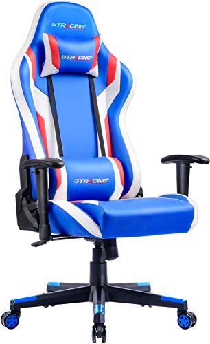 Gaming Chair Office Chair High Back Computer Chair PU Leather Desk Chair PC Racing Executive Ergonomic Adjustable Swivel Task Chair with Headrest and Lumbar Support (Blue) blue chair gaming