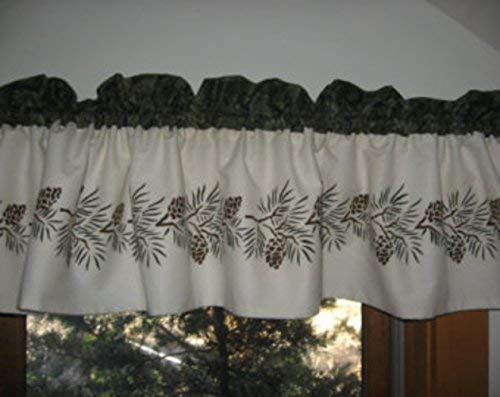Hand Stenciled Lined Pine Cone Curtain Valance