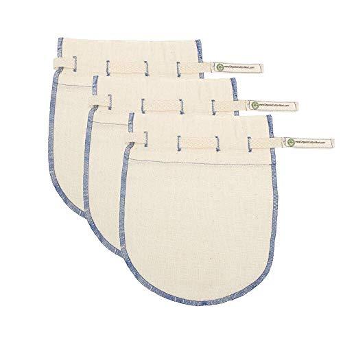 Reusable Jelly Strainer Bags - 100% Organic Cotton Juice Strainer Bags - Large, Reusable, Washable, and Biodegradable Kefir, Kava, Pulp & Yogurt Strainer Bags (3 Medium - 6'x8')