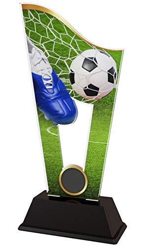Pokale Bauer | Fußball Trophäe | für Kinder, Party, Geburtstag | mit Ihrem persönlichen Wunschtext graviert | aus bedrucktem Acryl