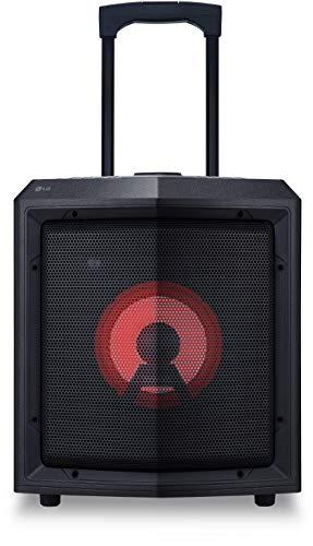 LG RL2 Akkubetriebener Bluetooth-Lautsprecher mit Rollen (Mikrofoneingang, USB, Radio, Party-Beleuchtung, 15 Std. Akkulaufzeit) schwarz