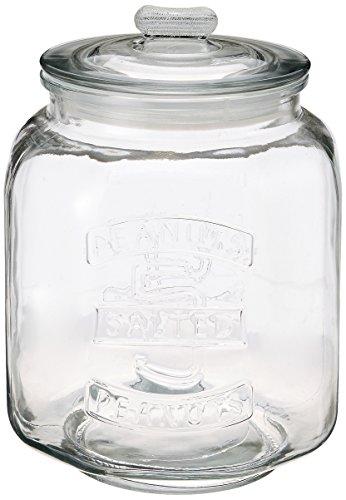 リビング 保存容器 キャニスター ガラス クッキージャー Lサイズ 目安容量約 7.0L 径21×高さ30cm クリア アーモンド