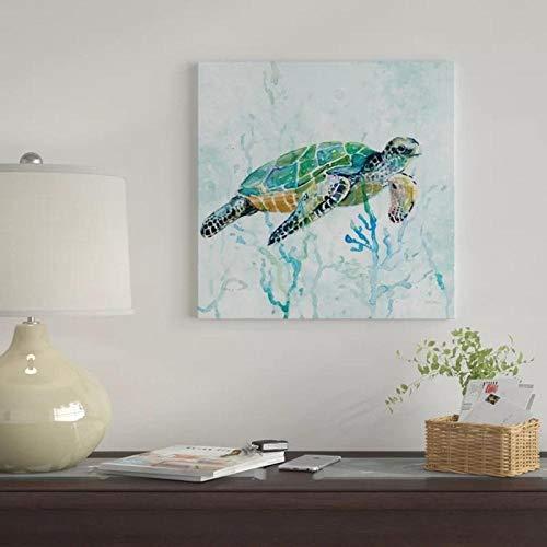 wZUN Impresin HD imgenes submarinas Pintura de Tortuga decoracin del hogar Lienzo Animal Cartel Arte de la Pared Regalo 50x50cm Sin Marco