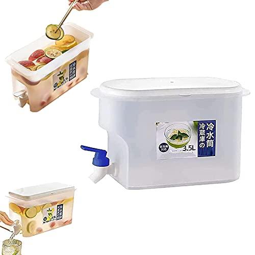 GFDjdfk Jarra de Agua de 3,5 l con Grifo Jarra de Jugo de limón, hervidor de Agua para refrigerador, dispensadores de Bebidas heladas con Almacenamiento, para Fiestas al Aire Libre y Uso Diario Blue