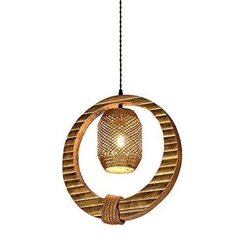 JIANAND Lámpara colgante E27 tejida de mimbre y hierba de bambú, semiencastrada con alambre ajustable, lámpara colgante para techo, para restaurante, hotel, bar, club, iluminación decorativa (D16 pulg