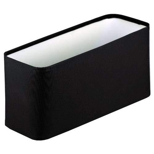 Stoffschirm für Tischleuchte schwarz Oval E14 Fassung Linus Ø 27 cm Durchmesser 14,3 cm hoch 9,5 cm breit Textil Lampenschirm für Tischlampe oder Stehlampe schwarz Stoff innen weiß rechteckig