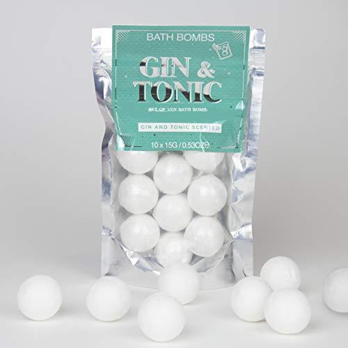 Lot de 10 bombes de bain à gin et tonique, argentées
