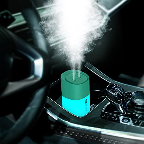 Mini Humidifier, Double Spray USB Car Humidifier Mute Portable 3 Mist Mode humidifiers for Baby, Auto Shutdown 350ml 10H 7 Color LED Night Light Humidifiers for Bedroom, Home, Travel, Office (Green)