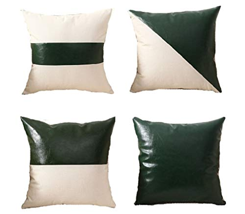 Green Cushion Covers Decorative Throw Pillow Covers Cases Home Decor for Couch Sofa Living Room Geometric Decorations cushions Square Throw Pillow Cover green 45x45cm Set of 4