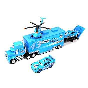 fashionmore 4 PCS Cars Movie Toys The King & Helicopter & Mack Truck & Dinoco Lightning McQueen Diecast Toy Car 1 55 Loose Kids Toy Vehicles Lightning McQueen Toy Car