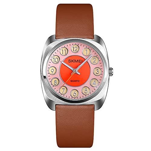 KLFJFD Tendencia De La Moda para Mujer Reloj De Cuarzo Cuadrado Reloj De Personalidad De Estudiante con Correa De Dial De Acero Inoxidable Creativo