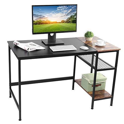 Gwear Mesa de escritorio para computadora de 1,2 m con estante, mesa de estudio de 2 niveles, ideal para el hogar, uso en la oficina, color negro