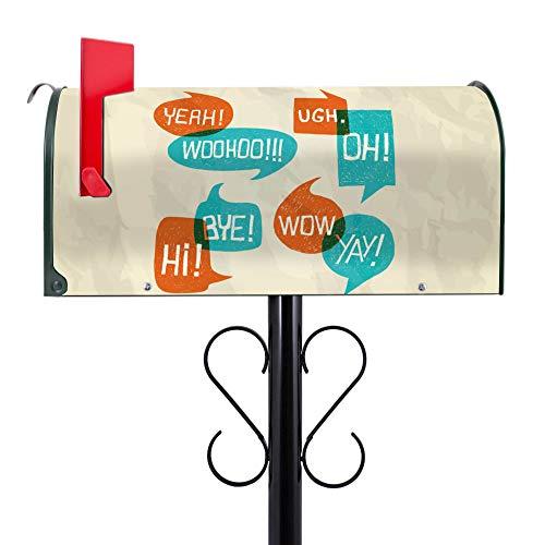 BANJADO US Mailbox | Amerikanischer Briefkasten 51x22x17cm | Letterbox Stahl Grün | mit Motiv Wow | inklusive schwarzem Ständer