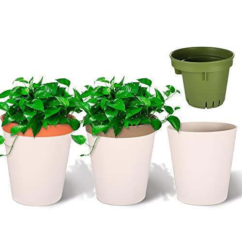 Viesap Vaso per Piante, Set di 3 vaso piante aromatiche, 12.5cm vaso di fiori, Vaso per Giardino, Livello dell'acqua visibile vaso da fiori autoirrigante, Applica a vasi per piante da interni moderni.