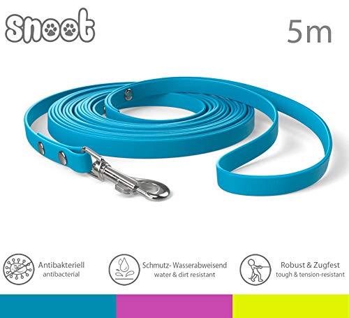 SNOOT 5m Schleppleine, Cyan-Blau, extra schmal, 10mm breit - zugfeste, schmutz- und Wasserabweisende Hundeleine mit Handschlaufe