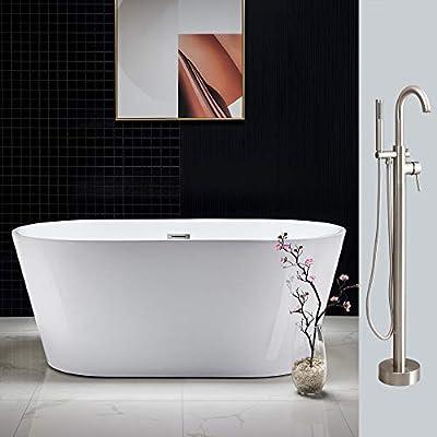 "Woodbridge Acrylic Freestanding Bathtub Contemporary Soaking Tub Overflow and Drain BTA1514-B, F0001, 59"" B-0014 Brushed Nickel +Faucet F-0001"