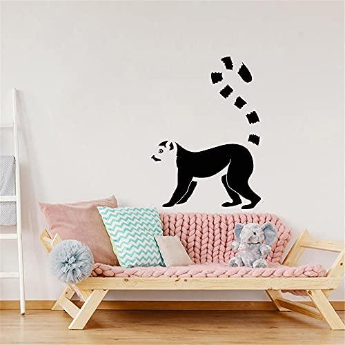 Etiqueta engomada de la pared del vinilo de los animales africanos de la historieta del lémur decoración de la habitación de los niños pegatina de la pared del arte del bebé Mural A9 42x57cm