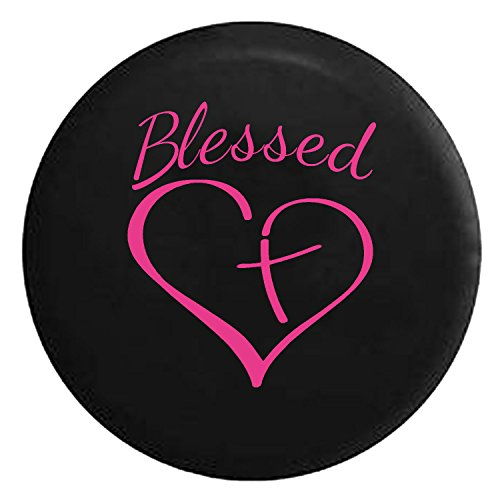 Blessed Heart with Cross Spare Tire Cover fits SUV Camper RV Accessories Pink Ink 32 in