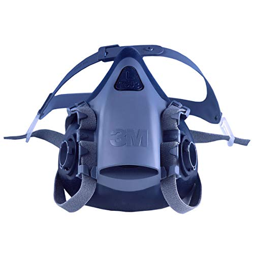 "3M 7503 Large Silicone Ultimate Half Mask 7500 Series Reusable Respirator with Cool Flow Exhalation Valve, 4 Point Harness and Bayonet Connection, English, 15.34 fl. oz, Plastic, 5.8"" x 10"" x 7"""