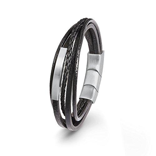 s.Oliver Herren Leder-Armband Edelstahl schwarz matt gravierbar mehrreihig 20+1,5cm