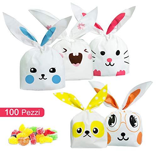 ARTMOVA Sacchetti Compleanno,Sacchetto per Caramella Confetti Borsa di Regalo Sacchetto Coniglietto di Forma del Coniglio Sacchetti di Biscotto … (100PC)