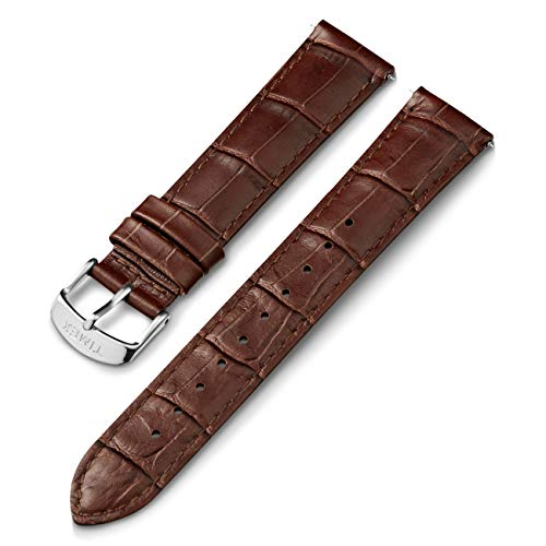 Timex 20mm Genuine Leather Strap – Brown Croco with Silver-Tone Buckle